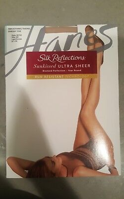 168e759f9 Brand New Women s Hanes Silk Reflections Sheer Toe Smoothing Thong Pantyhose  AB