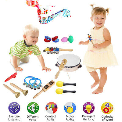 15Pcs Baby Wooden Percussion Toys Kid Sound Music Instrument Handbell Band Kit