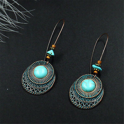 Women Vintage Long Round Turquoise Earrings Drop Dangle Hook Fashion Jewelry