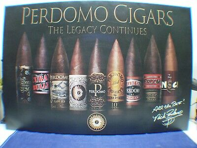 """Large Signed Perdomo Cigars Canvas Lithograph Pre-Owned  36""""w X 24""""h"""