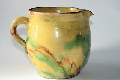 "Vintage/antique European Terra Cotta Pitcher - Swirl Glaze - 5.25"" Tall"