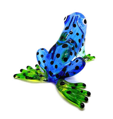 Lampwork COLLECTIBLE MINIATURE HAND BLOWN Art GLASS Blue Frog Black dot FIGURINE