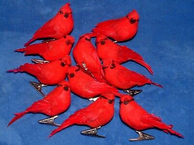 11 Clip On Red Bird Cardinal Christmas Tree Ornaments With Feathers Holiday