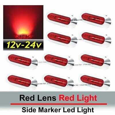 10x Red SMD LED Side Marker Tail Light Clearance Lamp Car Truck Trailer 12V 24V