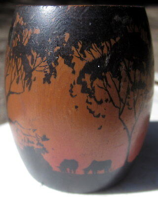 "very old hard wood , hand turned and painted  colonial cup - 2 1/2"" deep"
