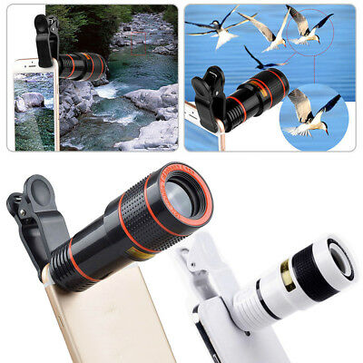 Universal HD 12x Optical Zoom Clip on Camera Lens Phone Telescope for Cell Phone