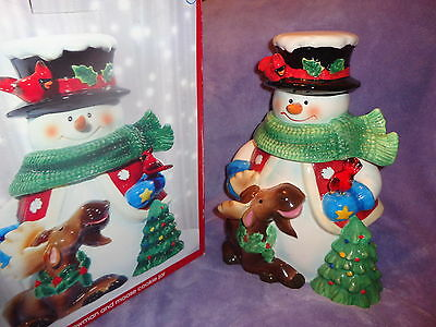 Jcpenney Home  Collection ~ Snowman & Moose Cookie Jar ~Heavier Jar ~Bird Moves