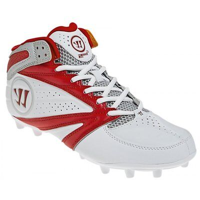 New Mens Warrior 2nd Degree 3.0 Lacrosse Mid Cleats White / Red Size 11 M
