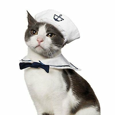 Puppy Dog Cat Sailor Outfit Costume Hat Cape Navy Sailor Hat Tie Collar Costume