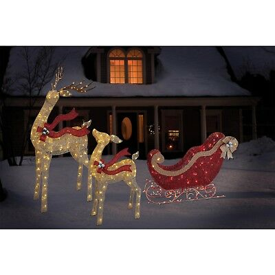 . LED Lighted Gold Reindeer with  Red Sleigh Outdoor Yard Christmas Decoration