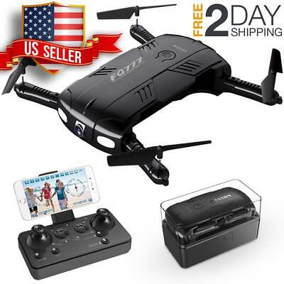 Pocket Drone Live Video Camera Wifi One Key Return RC Quadcopter 2 Batteries