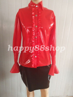 100% Latex Rubber Top Fashion Long Sleeve Red Lace Button Shirt Coat 0.4mm S-XXL