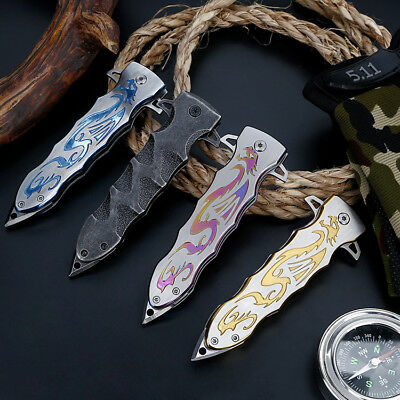 "8"" Spring Assisted Tactical Stiletto Folding Pocket Knife Blade Open Stainless"