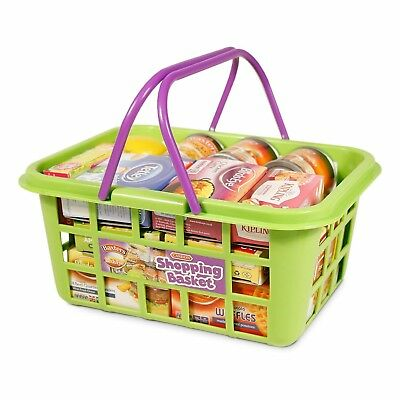 Casdon Toy Shopping Basket With Famous Brands Food Products Play Food NEW