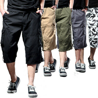 Mens New Cargo Long Walk Shorts 6 Pocket Casual Elasticated Pants Sizes 31 To 44