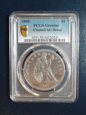 1845 SEATED LIBERTY DOLLAR PCGS AU SILVER $1 Coin PRICED TO SELL QUICKLY!
