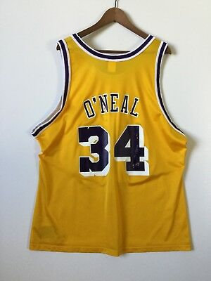 Vintage Champion Mens Jersey Lakers NBA Shaquille Oneal Shaq 34 Size 52 XXL 0ed0bfae9