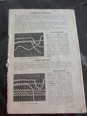 "Vintage Smocking Stitches  Instruction Book  1940""s."