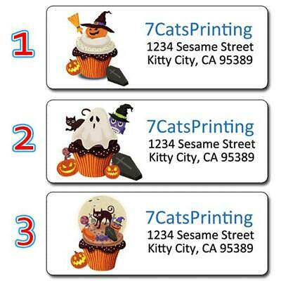30 Halloween Muffin Personalized Return Address Labels Pumpkin Witch Ghost Skull