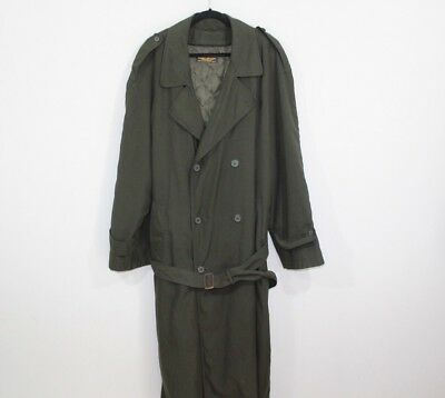 Vintage 90s Brooks Brothers Mens 46L Double Breasted Belted Trench Coat Green