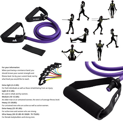 Single Resistance Band Exercise Tube W Handle Door Ancho 7 PURPLE 45 50 Lbs.