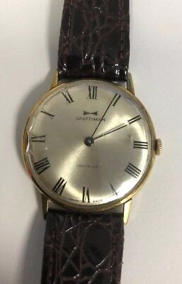 MENS WATCH VINTAGE CRAFTSMAN INCABLOC WORKING LEATHER STRAP SWISS MADE 1960's