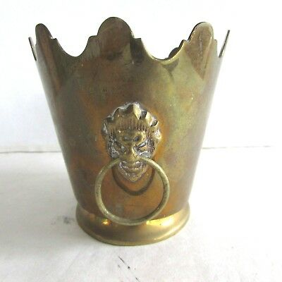 Small Antique Vintage Brass Bucket - Ornate Edge - Lion Heads With Rings