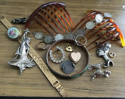 Mixed Lot Of Vintage & Antique Items,silver & Jewellery Etc