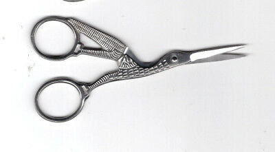 "Large Silver Coloured Stork Embroidery Scissors 4.5"" FREE P&P (UK)"
