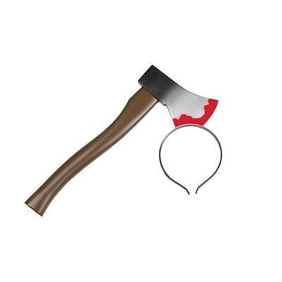 AXE IN THE HEAD BLOODY SCARY HALLOWEEN HEADBAND mens adult fancy dress accessory