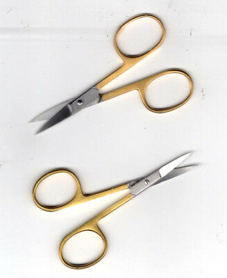 "Gold Coloured Curved Tip Embroidery Scissors 3.5"" FREE P&P (UK)"