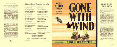 Mitchell-Gone With The Wind facsimile dust jacket for first edition book