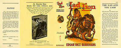 EdgarBurroughs, Edgar Rice. THE LAD and the LION facsimile jacket 1st Burroughs