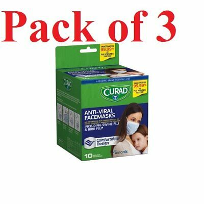 Curad Antiviral Medical Face Masks Standard Size 10 Count (Pack of 3)