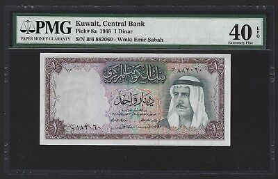 1968 Kuwait 1 Dinar, PMG 40 EPQ, Extremely Fine, P-8a Nice Original Example