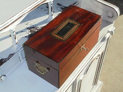 Antique Vintage Tea Caddy With Two Compartments And Lock & Key