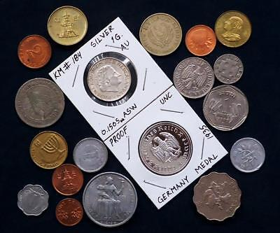 World Coins Lot Of 19 & Silver Coin Included, See Pics