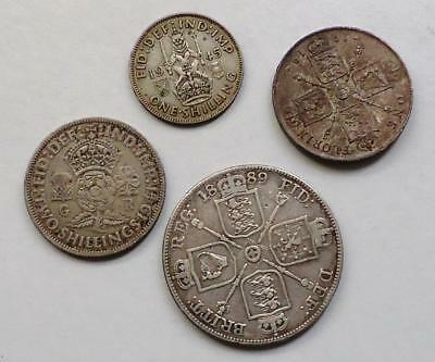 Great Britain Silver Coins Lot Of 4 *dates Range From 1889 - 1945* See Pics