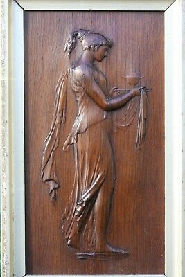 SUPERB 19thC WOODEN OAK PANEL WITH CLASSICAL FIGURE CARVING CENTRALLY c1880s