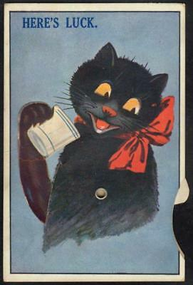 Vintage Mechanical PPC 1929 - Black Cat Drinking Milk Rotating Arm Moves Eyes