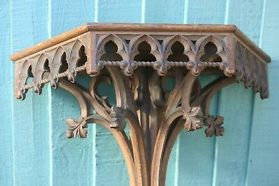STUNNING 19thC GOTHIC WOODEN OAK SHELF, BRACKET WITH TRACERY CARVINGS c1880s