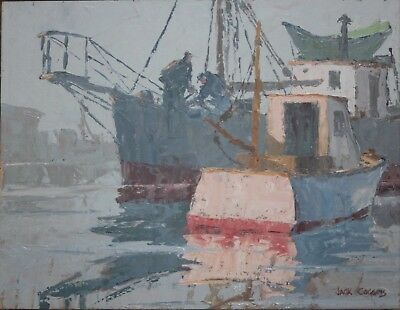 JACK COGGINS-NY/PA Realist-Original Signed Oil-New England Boat Harbor Scene
