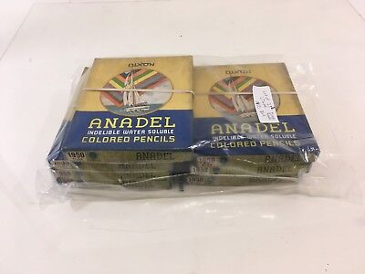 Lot of 252 (7boxes) Vintage Dixon Anadel Water Soluble Colored Pencils 1950 Blue