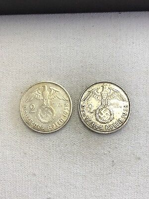 1938 G 2 Mark German WWII Silver Coin Third Reich Reichsmark- LOT OF 2