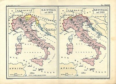 Carta geografica antica ITALIA UNITA nel 1870 e 1919 1945 Old Antique map