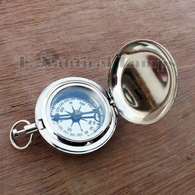 Nickel Plated Brass Pocket Compass Push Button Nautical Compass Lot of 5 pcs