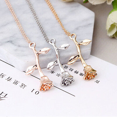 Gold Silver Delicate Rose Flower Pendant Necklace Chain Girl/'s Love Jewelry