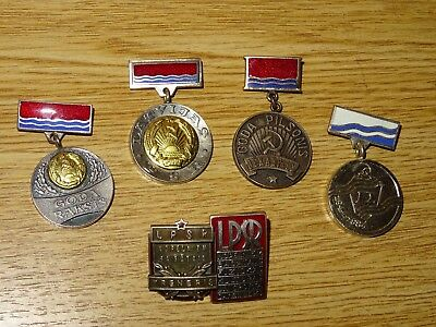 Ussr/ Latvia. Meritorious/ Honorous Person. Set Of 6 Medals/ Badges With Better!