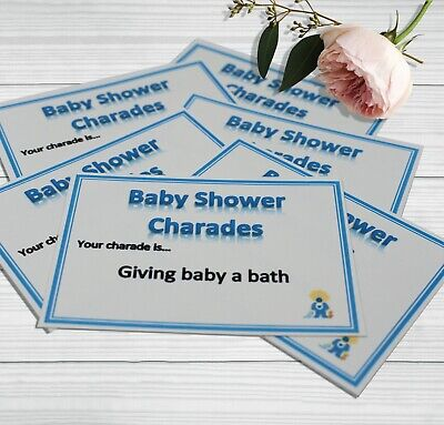 Charades Baby Shower Party Game - Blue Boy 32 Cards Gender Reveal Players Prize