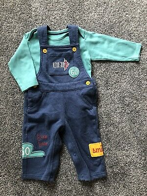 M&S Marks and Spencer Baby Dungarees & Long Sleeve Vest 6-9 Months